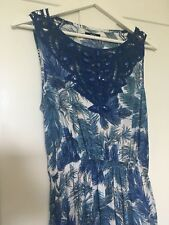 Ladies M&CO blue white floral print maxi long Dress Size 12 boho botanical sun