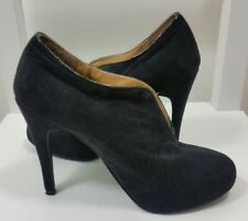 NEXT Womens Ankle Boots Size 3.5 UK 36 Slit Front Suede Stiletto High Heel Black