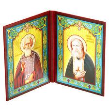 Icône chretienne Saint Séraphin de Sarov et Saint Serge de Radonège Icone russe