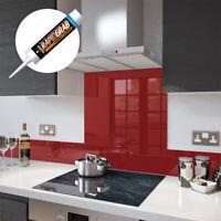 Glass Splashbacks Deep Red and Glass Upstands - Made By Premier Range