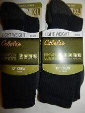 """Socks Cabelas XL 12 15  Lightweight Outfitter 2 Pair 12"""" Crew Black Wool Blend"""
