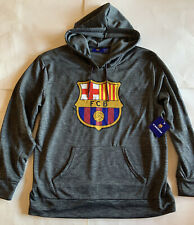 FC Barcelona Men's Sweatshirt Football Club Gray Soccer XL New Hoodie NWT Barca