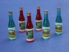Miniature Dollhouse Set of 6 Wine Bottles 1:12 Scale