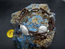 Sterling Silver Handmade Water Pearls and Chocolate leather cuff bracelet Size 7