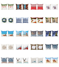 Ambesonne Christmas Theme Cushion Cover Set of 2 for Couch and Bed in 4 Sizes