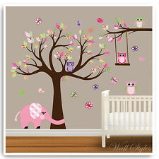 Owl Animal Wall Stickers Jungle Zoo Safari Tree Nursery Baby Bedroom Decals Art