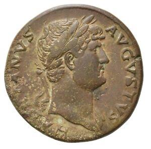 Ancient Roman AE Sestertius of Emperor Hadrian Rome between 125 - 128 AD / Diana