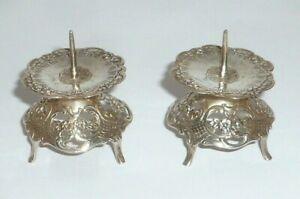 2 Vecchio Argento Supporto Candela Candeliere 800er Argento Silver Paio