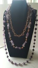 AMETHYST ROUNDS,SQUARES, FACETED ROUNDS AND NUGGETS NECKLACE.