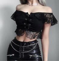 Womens Ladies Punk Gothic Sexy Off Shoulder Cutout Lace Up Blouse Crop Top 3913