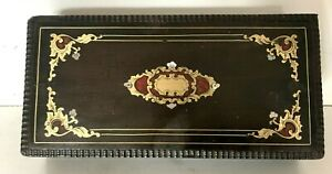Coffret Napoléon III en bois noirci et marqueterie de laiton gravé