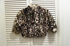 POLO NORTE: Fur LEOPARD Rabbit SOFT Coat FLUFFY Bolero JACKET Cape for aGirl F17