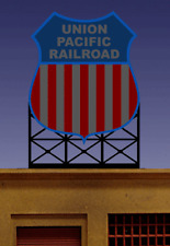 UNION PACIFIC RAILROAD BILLBOARD ANIMATED SIGN - HO-SCALE- LIGHTS FLASHES & MORE