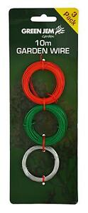 Pack of 3 Garden Wire, Galvanised, Red Coated Green Coated 10m Lengths