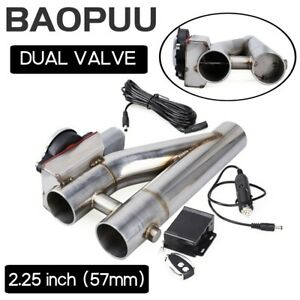 2.25inch Electric Exhaust Downpipe Cutout E-Cut Out Dual Valve w/ Remote Control