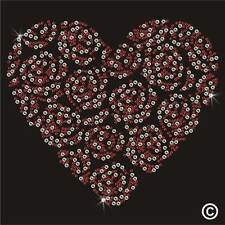 Rose Heart Rhinestone Diamante Transfer Iron On Hotfix Gem Crystal T Shirt Motif