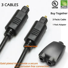 3x 6FT Digital Optic Audio Toslink Cable +1 IN 2 OUT Toslink Digital Splitter