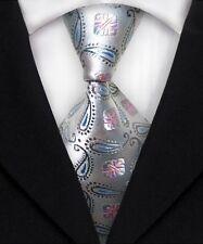 New Men's Silver Blue Floral 100% Silk JACQUARD WOVEN Handmade Tie Necktie F209