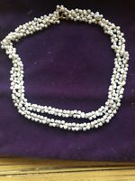 """Vintage Trifari Gold Tone Faux Pearl  Necklace Rope / Chain Link Design 29"""" Long"""