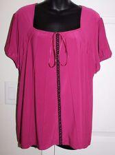 Susan Lawrence Woman 1x Purple Short Sleeve Blouse Front Pleats Criss Cross