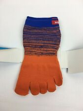 Injinji Toe Socks Micro Length Performance Sport Orange Blue Striped Small