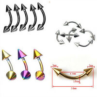 Stainless Steel Spike Curved Ear Stud Eyebrow Ring Body Piercing Jewelry TB