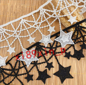 1yd Embroidered Star Crochet Lace Trim Wedding Ribbon Sewing Decor DIY BF266