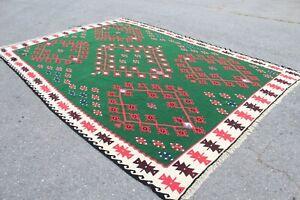 """Oversize Vintage Handmade Turkish Oushak Area Rug Kilim 138""""x100"""""""