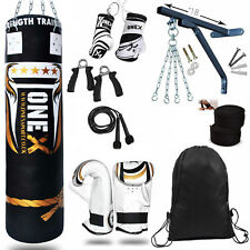 OneX 15 Piece Boxing Set 5ft Filled Heavy Punch Bag Gloves,Chains,Bracket,Kick