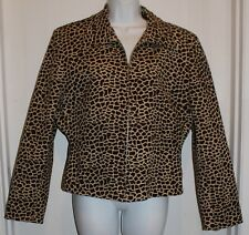 Mexx Jacket Coat Zip Up Brown Animal Pattern Size 12