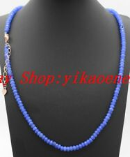 """Fine 2x4mm Blue Sapphire Faceted Rondelle Gemstone Beads Necklace 18""""AAA"""