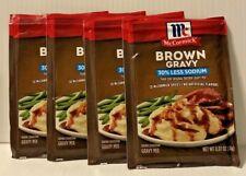 4 McCormick 30% Less Sodium Brown Gravy Mix 0.87oz FREE SHIP