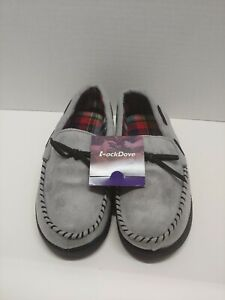 RockDove Woman's Flannel Lined Moccasin Slipper Grey, Size US9.0 EU40