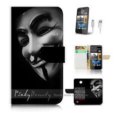 ( For HTC Desire 310 ) Case Cover! V for vendetta mask P0227