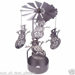 METAL TEA LIGHT POWERED ROTARY SPINNING CANDLE HOLDER DECORATION: SNOWMAN