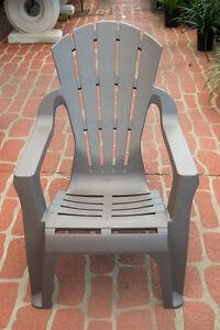 Outdoor Garden Patio Furniture Plastic Adirondack Deck Chair Italia Seat Taupe