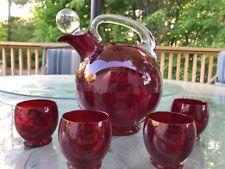 Vtg Cambridge Glass Carmen Red 4400 Line Tilt Decanter 4 Cordials Mint