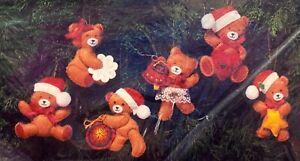 """The Creative Circle """"Tiny Teddys"""" Set of 6 Vintage Christmas Ornaments Felt Kit"""