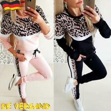 Damen Leopard Trainingsanzug Sportanzug Jogginganzug Hose Sweatshirt Hausanzug