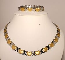 Stainless Steel Ladies Necklace & Bracelet Set Two Tone X&Heart