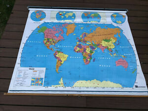 VTG Nystrom Pull Down Classroom Map 65x55 2 Layer - World & United States USA