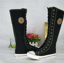 Womens Flat Lace Up Canvas Knee High Sneakers Boots Punk Gothic Side Zip Shoes