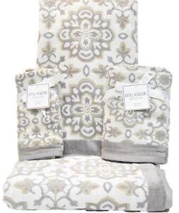 6 PC Towel Set Hotel Vendome 2 Bath 2 Hand 2 Fingertip Medallion Grey Khaki Wht