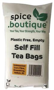 spice.boutique Unbleached CORN FIBRE Self Fill Teabags, PLASTIC FREE, Drawstring