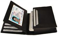 BLACK GENUINE LEATHER ID Credit Cards Pocket Business Center Flap Men's Wallet
