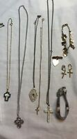 Group of 9 Religious Jewelry Necklace Earrings Bracelet