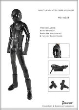 *Brand New* Dollsfigure 1:6 Black Bodysuit w/ 2 Pair Gloves *US Seller*