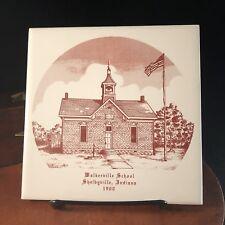 Vtg Walkerville School Shelbyville Indiana 1900 Tile Trivet IN Shelby County