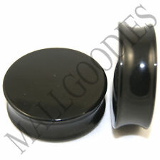 "0470 Double Flare Acrylic Black Earlets Saddle Ear Plugs1-1/4"" Inch Plugs 32mm"
