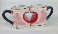 Becher 2 er Set Tasse mit Henkel Kaffetasse lustige Motive I Love You Herz Liebe